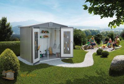 Biohort tuinhuis Europa 3 Kwartsgrijs 1