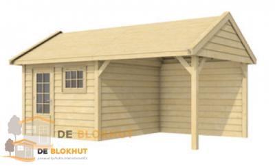 Zweeds Topvision tuinhuis Witte Wolf 610x372cm met 300cm luifel